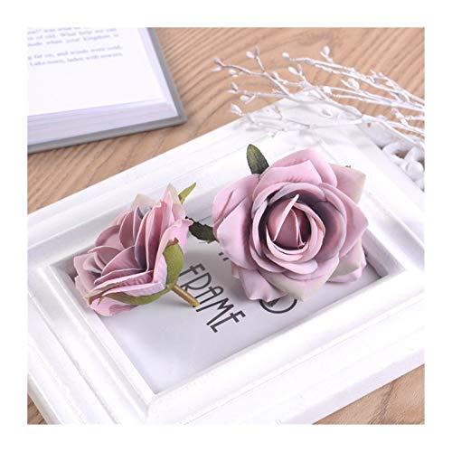 Pianta artificiale artificiale fiore testa rose fiore falso fai da te ghirlanda scrapbooking decorazione matrimonio casa ricamo decorazione 7 cm 5 pz/lotto (colore : rosa bianco)