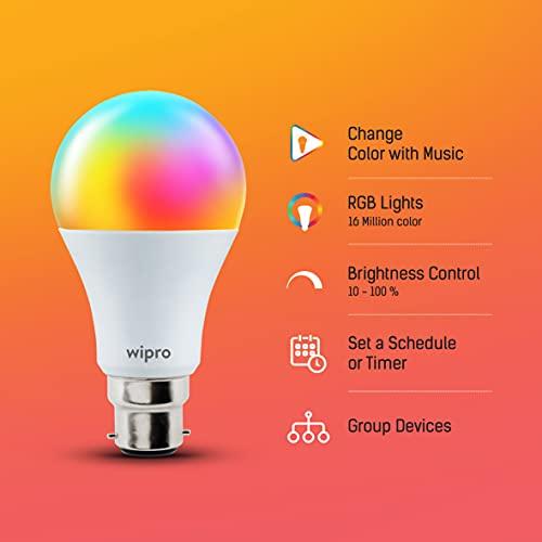 wipro 9-Watt B22 WiFi Smart LED Bulb with Music Sync (16 Million Colours + Warm White/Neutral White/White) (Compatible with Amazon Alexa and Google... 4