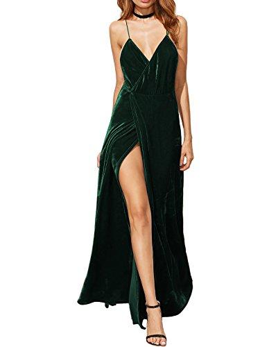 Verdusa Women's V-Neck Backless Wrap Velvet Cocktai Party Dress Green M