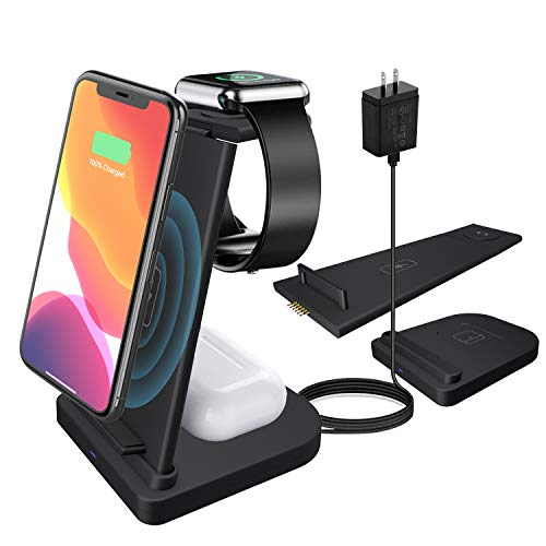 Wireless Charger,ZHIKE 3 in 1 Qi-Certified Fast Charging Station for Apple iWatch Series 6/5/4/3/2/1,AirPods,Wireless Charging Stand Compatible with iPhone 11 Series/XS MAX/XR/Samsung?with A Plug?