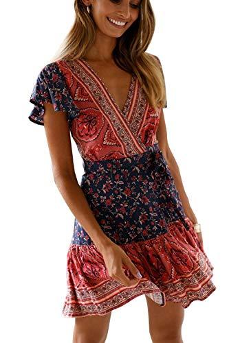 MisShow Damen Kleider mit Blüte Drucken Kurz Sommerkleid Strandkleider Cocktailkleid Gr. S