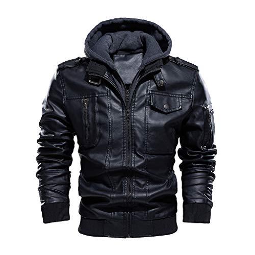 Celucke Lederjacke Herren mit Kapuze Slim Fit in Schwarz,Männer Bikerjacke Herbst Winter Winterjacke Mode Cool Jacke