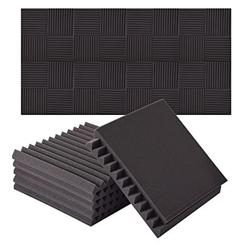 Espuma Acústica, Sararoom Paneles Acusticos, 48 piezas de tapete de espuma de aislamiento acústico, 30x30x2.5cm Panel Espuma Acústica, adhesivo de pared de esponja de aislamiento acústico de espuma