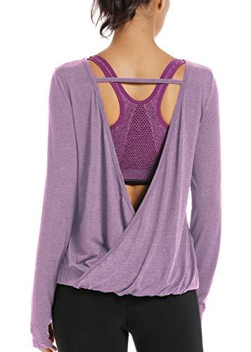Muzniuer Women's Backless Loose Shirt Long Sleeve Open Back Cross Tee Top Blouse Long Sleeve Stretchy Backless Yoga Shirts Long Sleeve Tank Top Lavender M
