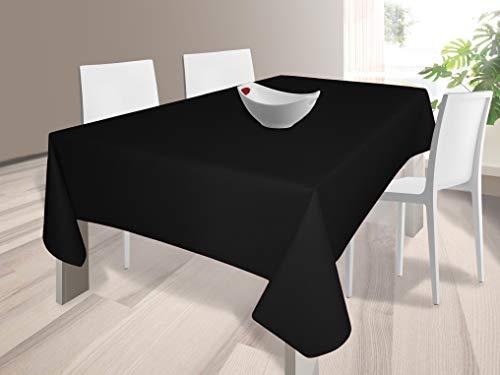 HuleHule Mantel Tela Resinada Antimanchas Color Negro Liso (140_x_300_cm)