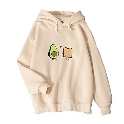 KEEVICI Cute Avocado Vegan Bread Cartoon Hoodies for Women (Apricot,M)