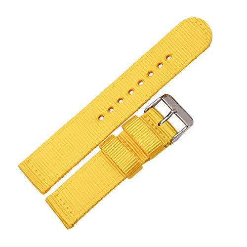 Nylon Lienzo Correas de Reloj de Las Mujeres/Hombres Correa de Pulsera Deportivo 18mm-24mm Relojes de Accesorios de liberación rápida Barra del Resorte Amarillo,22mm