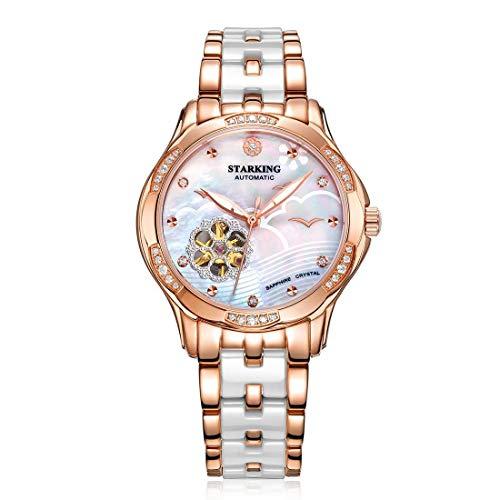 Armbanduhren Damen Automatische Mechanische Keramikarmband Modische Uhren Damenuhren (Weiß)