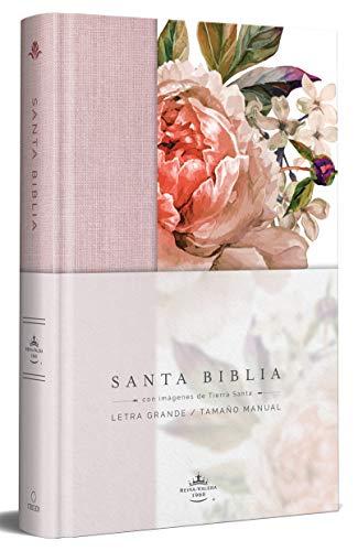 Biblia Reina Valera 1960 Letra Grande. Tapa Dura, Tela Rosada Con Flores, Tamaño Manual/Spanish Bible Rvr 1960. Handy Size, Large Print, Hardcover, Pink