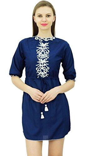 Bimba Frauen Designer Boho Mini Kleid Puff Ärmel Bestickt Yoke Short Tunika Mit Tunnelzug Taille