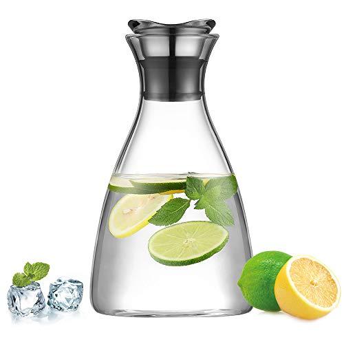 ecooe Glaskaraffe 1500ml (Volle Kapazität) Glaskrug aus Borosilikatglas Wasserkrug mit Edelstahl Deckel Karaffe Glaskanne mit Edelstahldeckel
