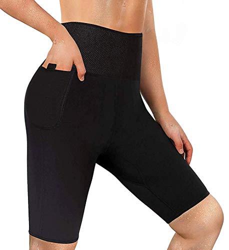 LODAY Neoprene Sauna Shorts with Pocket for Women Weight Loss Sweat Pants Workout Body Shaper Yoga Leggings (Black, S)