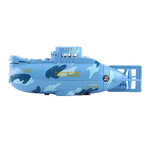 Mini Submarino Eléctrico de Control Remoto Barco Juguete Teledirigido con Cable USB y Telemando(Azul)