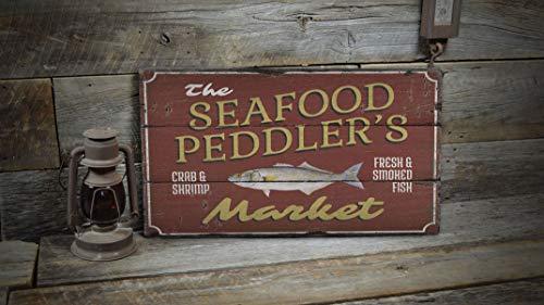 Ced454sy Seafood Eats Schild, Meeresfrüchtemarkt, Fischladenschild, Strandtraum-Schild, Holzdekoration, Holzhütten-Dekor – alte Holzschilder Dekor