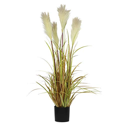 """NCYP 35"""" Tall Artificial Plants for Home Decor Indoor Natural Large Faux Fake Potted Plants with Black Planter Pot Office Floor Decorative Reed Grasses Gift"""