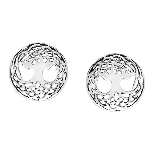 Interlaced Celtic Knot Tree of Life .925 Sterling Silver Stud Earrings