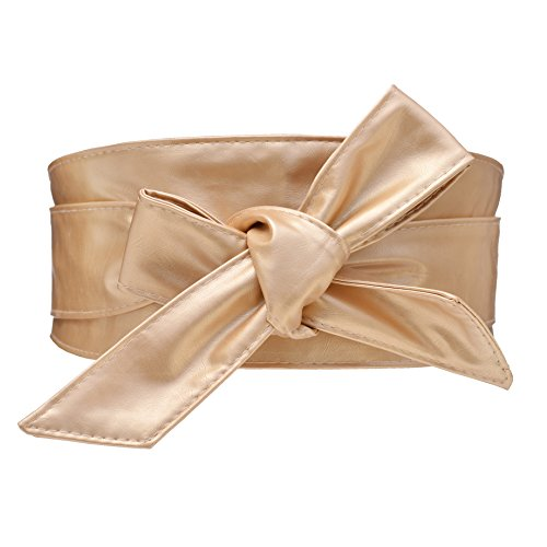 Cityelf Cinturon de Cuero sintetico de la correa de cintura para Mujer los vestidos Ancho Amplia Cintura Cinturón (Dorado)