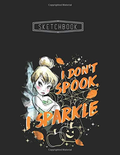 Sketchbook: Disney Peter Pan Tinkerbell Halloween Sparkle Unlined 8.5''x11'' White Paper Blank Sketchbook 111 Pages with Black Cover A Perfect Gift For Kid - Artists - Creative People And Students