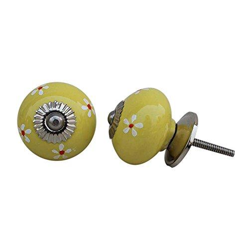 IndianShelf - Tirador de cerámica para cajón (12 piezas, diseño de flores amarillas, artísticas, sin óxido, vintage, para cajoneras