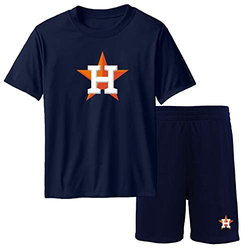 Outerstuff MLB Youth 8-20 Team Color Performance Primary Logo T-Shirt & Shorts Set (Medium (10-12), Houston Astros Navy)