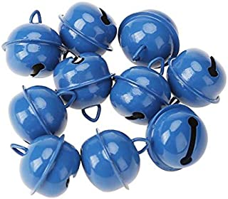 Topxome 20pcs/lot New Year Metal Jingle Bells Christmas Hanging Ornaments Xmas Decoration Pet Pendants Christmas Decor Bells 25mm (Blue)