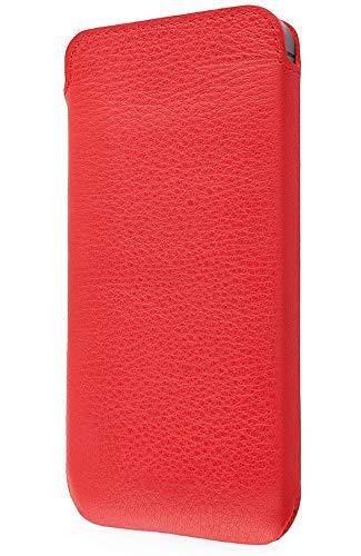 WIIUKA Echt Ledertasche - Pure - für Apple iPhone 5 / 5S / SE Hülle extra Dünn, Rot, im Slim Design, Premium Leder Tasche