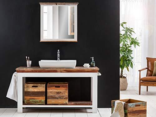 Woodkings® Waschtisch Perth recyceltes Holz weiß bunt rustikal mit Holzboxen Badmöbel Badezimmer Badschrank Bad Unterschrank Massivholz