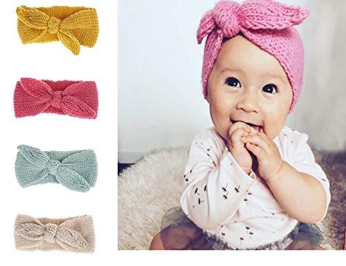 Baby Gestrickt Stirnband,Tukistore 4 Stück Baby Niedlich Hasenohren Design Kopfband Haarband Winter Kopfbänder Herbst Frühling Haarbänder Haarband Wolle...