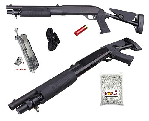 KOSxBO® Set Softair Shotgun inklusive Speedloader, 2000 Premium BB Munition, Magazin (Shotshell), Taktischer Tragegurt - M56C Flinte 0,5J - 1:1 Nachbau