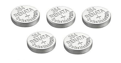5 x Renata Uhrenbatterien Silber Oxid Hergestellt In Der Schweiz 0{e2f5f076958670ffe9a560b804a78fe58c19c1a9bd6be21bda85902e72ef7b57} Quecksilber Lange Lebensdauer - Argenté, 5 x 364 ou SR621SW or AG1
