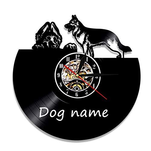 YDHNB 3D Retro Clock Bulldog Inglés Raza de Perro británico Reloj de Pared con Registro de Vinilo Pet Puppy Pug Dog Reloj de Pared, Regalo para Amantes de los Perros,Without Light