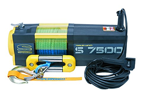Superwinch 1475201 Yellow S7500SR Winch 7,500 lbs, 12 VDC, 5/16 in x 54 ft Synthetic Rope, 30.5 ft Handheld Remote Control,3.6 Hp, Mechanical Brake,249:1 Gear Ratio, Stainless Steel 2-Way Fairlead