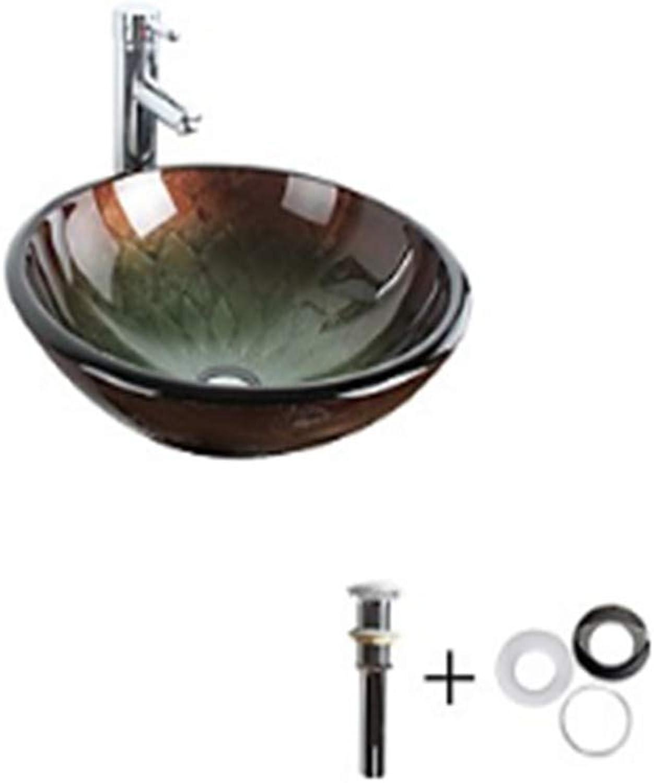 WHFDRHSLT Wasserhahn Küchenarmatur Mischbatterie Waschtischarmatur Waschbecken Bad Wasserhahn Bad Montage Ring Antik - gehrtetes Glas rund