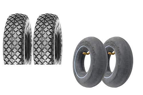 P4B | 2x Sackkarren Reifen Set mit Schläuchen | Reifen mit 3.00-4/260 x 85 Blockprofil | In Schwarz