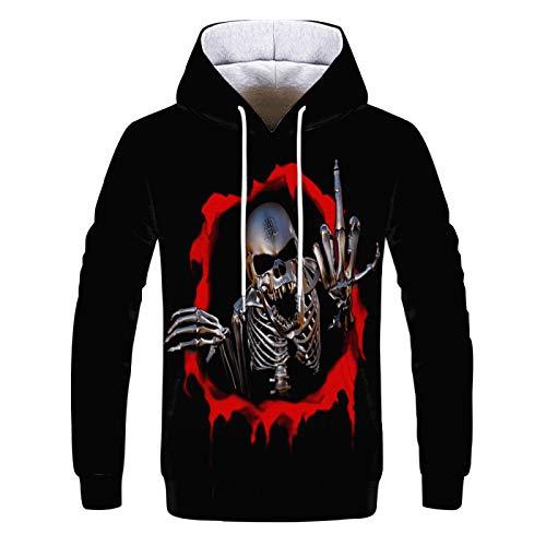 Men'S Sweatshirt Hip-Hop Pocket Pullover Jacket Skull 3D Digital Printing Men'S Hooded Sweater Shirt XXS