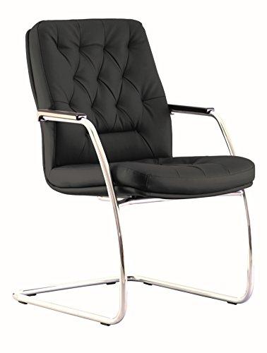 Chester- Silla de conferencia/silla de oficina/silla de salón. Asiento de ecopiel, recambio, capitoneado, ergonómico, capacidad de carga de 145 kg. (negro)