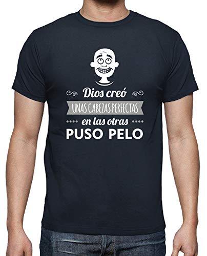 latostadora - Camiseta Cabezas Calvo para Hombre Azul Marino L