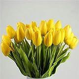 Alaso Fleurs Artificielles,Fausse Fleur, 10pcs Tulipe Faux Fleurs Mariage Fête De Mariage Accueil Décors Bouquet Fleur de Simulation Arrangement de Fleur