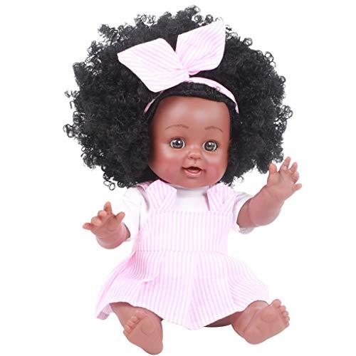 Fossen Afrikanische Puppe,Schwarze Puppen Mode Mädchenpuppen Spielen Puppe 14 Zoll African American für Kinder Spielzeug (Rosa, 13.8 inch)
