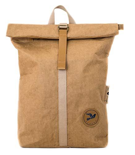 Rucksack aus Kraft Papier - Wasserfester & robuster Daypack ULTRAMINIMALISTISCH für Damen & Herren - PAPERO® Roll Top Tasche & veganem Leder - für Alltag & Uni für 17 Zoll Laptop | nachhaltig (braun)