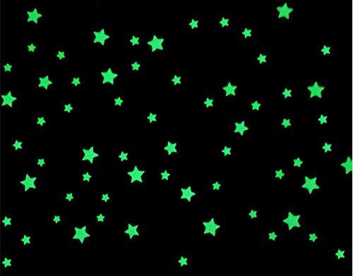 Indigos - 100 Leuchtsterne 3D floureszierend für Sternenhimmel, richtige Sterne - ideal für Kinderzimmer und Schlafzimmer