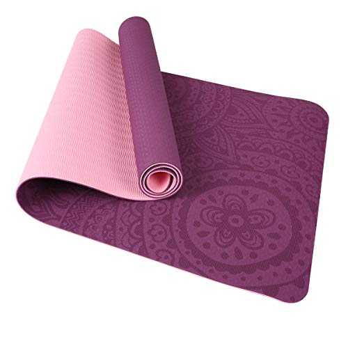 TOM SHOO Colchoneta Yoga Antideslizante, Esterilla Yoga de TPE 6mm, Alfombra Pilates Doble Color con Bolsa de Malla (183 * 61 * 0,6cm)