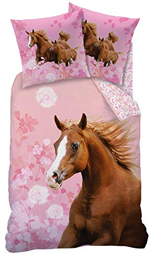 Matt&Rose Pferdebettwäsche 135x200 Mädchen 80x80 cm Baumwolle 100% Kinder Bettwäsche Set Mädchen Wende-Bettwäsche rosa, braun, Blumen, Horse