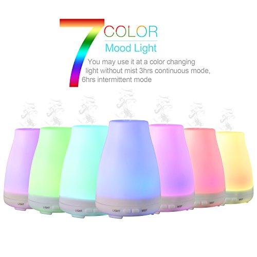 LESHP - 100ml Difusor de Aceites Esenciales Humificador Aromatizador (led multicolor, apagado automático cuando el agua se agota)