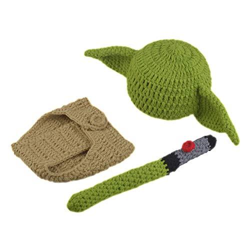 KLOP256 Traje de bebé conjunto de ropa yoda sombrero recién nacido cumpleaños ducha regalo dibujos animados pañal cubierta lindos trajes hechos a mano ganchillo tejer fotografía Prop suave