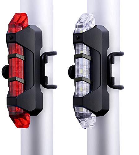 VJK USB wiederaufladbare Fahrradbeleuchtung vorne und hinten, 2 Stück Scooter-Licht, 5 LEDs, 4 Modi, vorne und hinten, Blinklicht, Sicherheitswarnlampe