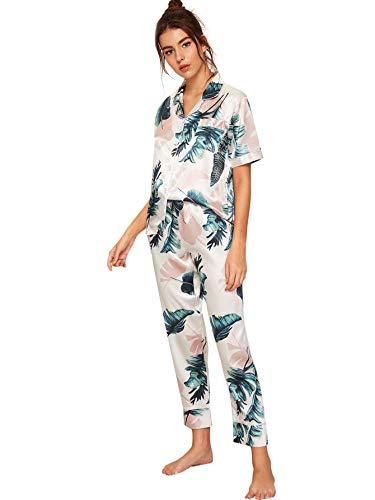Floerns Women's Printed Two Piece Short Sleeve Sleepwear Long Pants Silk Pajamas Sets A White XS
