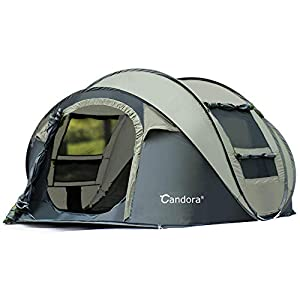 Candora Camping Tents 3-4 People Instant Pop Up Easy Quick Setup, 2 Door Mesh Window Waterproof Big Family Privacy Tent Travel