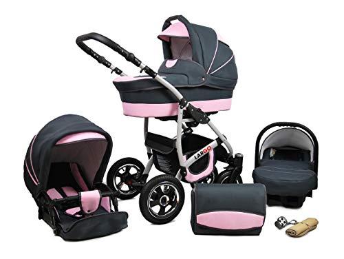 Cochecito de bebe 3 en 1 2 en 1 Trio Isofix silla de paseo New L-Go by SaintBaby (Light Pink, 2in1 sin Silla de coche)
