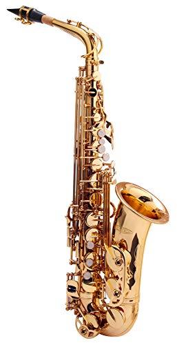 Classic Cantabile Winds AS-450 Es Altsaxophon (Messing, klarlackiert, Hoch-Fis-Klappen, ergonomische Klappenmechanik)